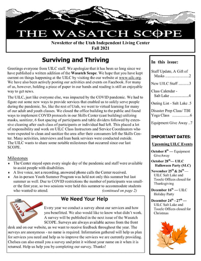 Fall 2021 Wasatch Scope Newsletter