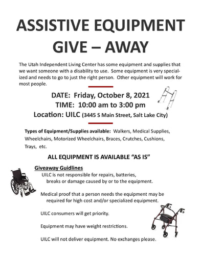 Fall 2021 UILC Equipment GIVEAWAY